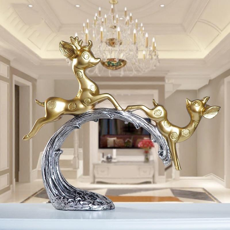 Sala de Estar Europa Criativo Resina Veados Escultura Ornamentos Casa Mobiliário Artesanato Estatuetas Escritório Acessórios Decoração Casamento