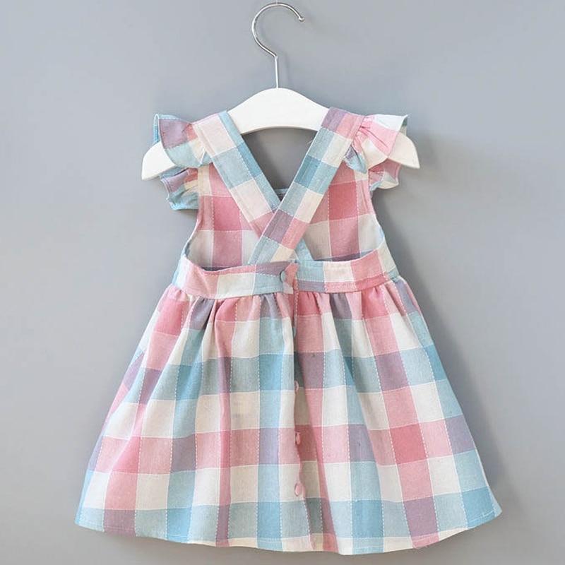 2020 New Summer Girls' Dress Korean Strap Plaid Casual Sleeveless Party Princess Dress Cute Children's Baby Kids Girls Clothing