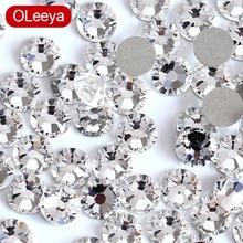 Süper parlak kristal tırnak sanat Rhinestones SS3-SS50 Flatback temizle olmayan sıcak düzeltme Rhinestones tutkal Nail Art süslemeleri Y0100
