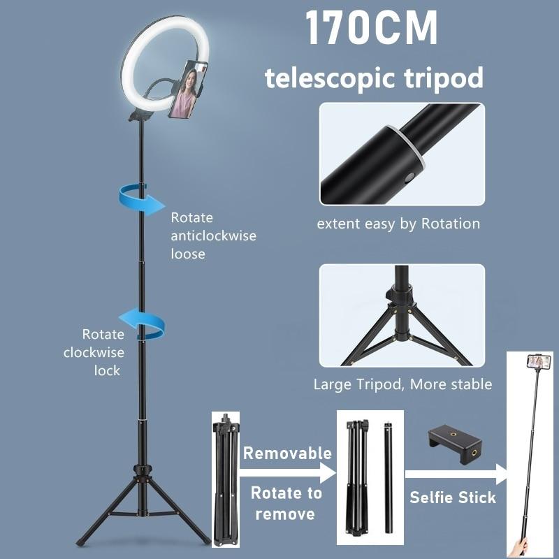 Tongdaytech Dimmable RGB LED Selfie Ring Fill Light Photo Ring Lamp With Tripod For Makeup Video Live Aro De Luz Para Celular