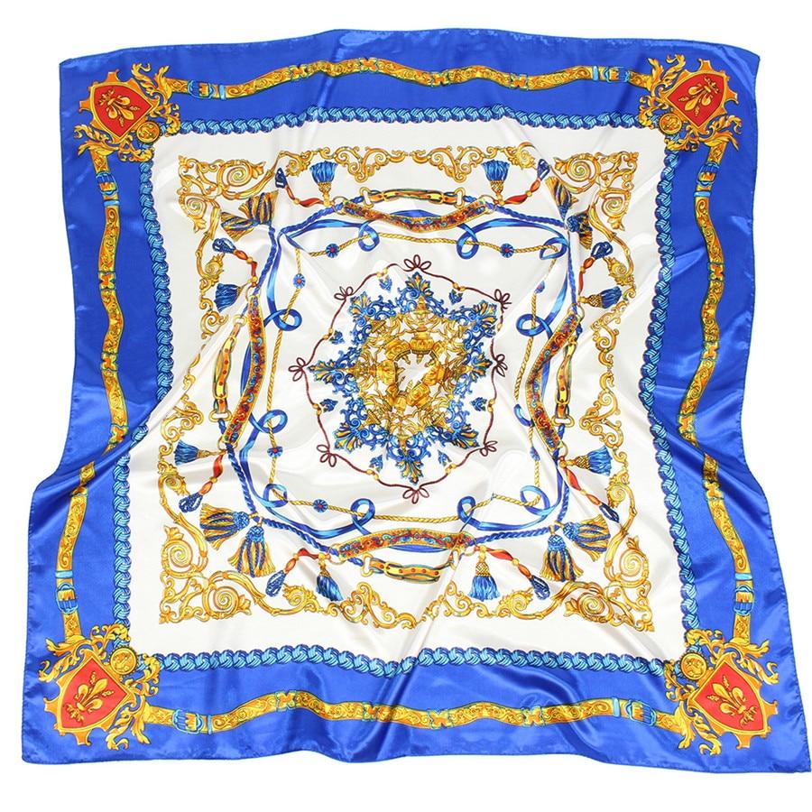 Pañuelo cuadrado de satén de marca, pañuelo estampado clásico con borla para mujer, 90x90, grande de Pashmina, chal de verano Fular de lujo, Echarpe sedoso