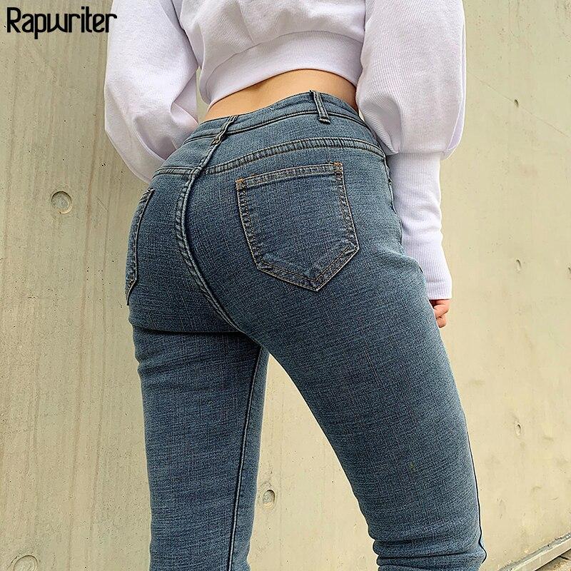 Pantalones vaqueros de estilo casual para mujeres pantalones vaqueros de cintura alta para mujer Hi gh elásticos mantener caliente estiramiento pantalones de mezclilla ajustados lavados femeninos