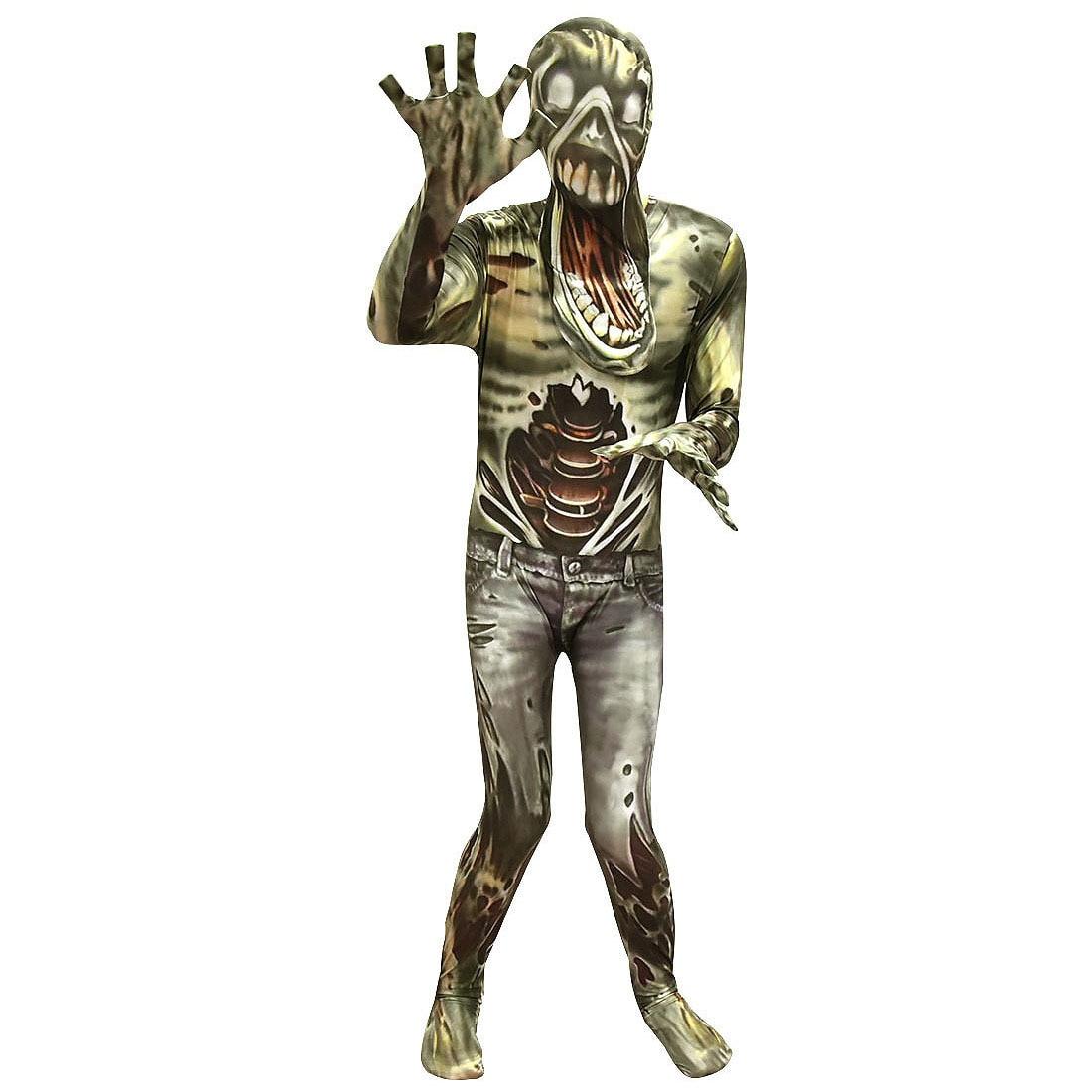 Kinder Halloween Zombie Monster Cosplay Overall Set Kinder Maskerade Horror Lebenden Toten Dämon 3D Gedruckt Kostüm Mit Kopfbedeckungen
