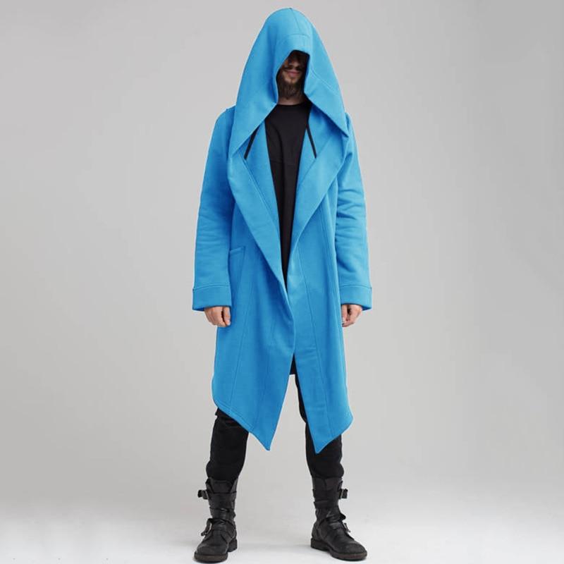 Steampunk Cape Cloak Men Autumn Long Sleeve Jacket Mens Windbreaker Long Hooded Cardigan Trench Coat X9213