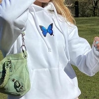 womenu2019s butterfly hoodies 2020 fashion long sleeve fresh butterfly pattern loose round neck hooded sweatshirt
