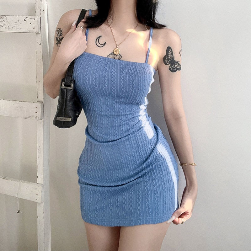 Sexy Flat-Mouthed Sling Halter Dress Summer Elastic Tight-Fitting Thin Camisole Buttocks Sheath For Women