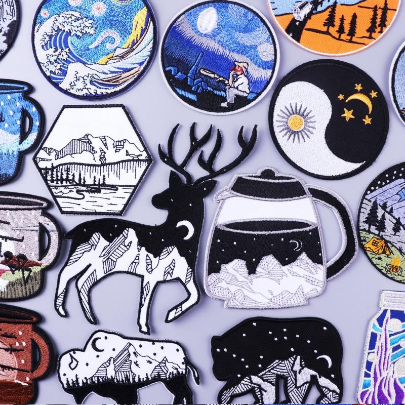 Нашивки с вышивкой в дикой природе, нашивки для одежды «сделай сам», нашивки для утюга на одежде, Значки для курток в горную полоску