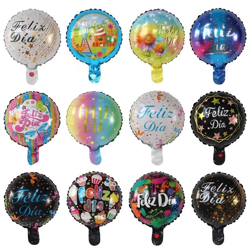 50pcs 10inch Spanish Foil Balloons Feliz día good day Mylar Helium Balloon Happy Birthday Party decoration Round Baloes globos