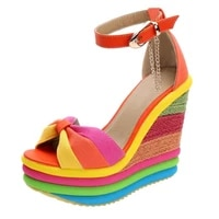 2021 summer sandals womens wedge high heels ladies multicolor stitching sandals open toe roman shoes sandals high heels