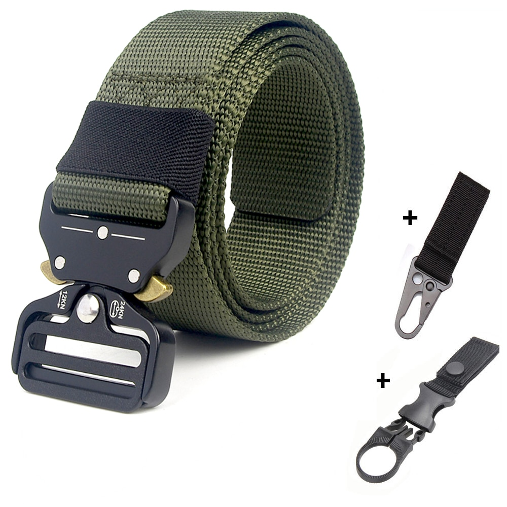Army Nylon Tactical Belt Military Metal Buckle Ceinture Police Heavy Duty Training Belt Hunting Men's Long Waist Belt Canvas durable black canvas and nylon canvas adjustable for police utility security belt with quick release buckle
