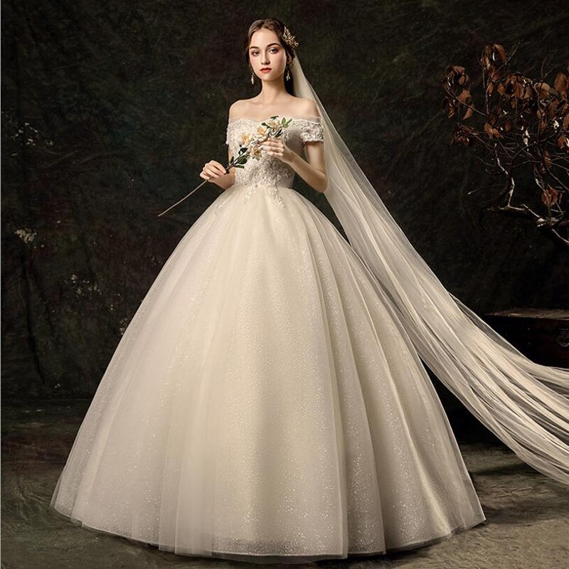 Luxury Beads Boat Neck New Wedding Dress Lace Floor length Short Sleeves Plus sizes Vestido De Noiva vestido de festa Ball Gown