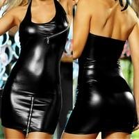 plus size women underwear sexy costum faux leather linegrie black sleeping dress underwear nightdress clubwear dresses