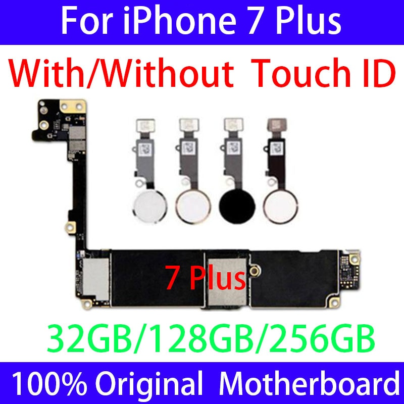 100%Original Factory Unlocked for Iphone 7 Plus Motherboard with /Without Touch ID,Clean ICloud for Iphone 7Plus Mainboard Plate enlarge
