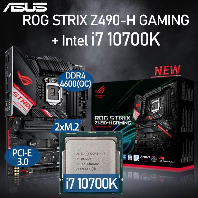 LGA 1200 Asus ROG STRIX Z490-H GAMING Motherboard Set + Intel Core i7 10700K Combo DDR4 128GB PCI-E 3.0 M.2 Intel Z490 Placa-Mãe