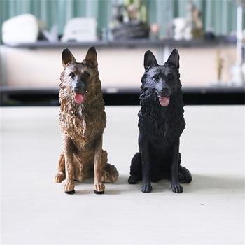 JJM Small German Shepherd Dog Pet Figure Animal Car Decoration Model Toys Gift Crafts Souvenirs Decor Vehicle Simulation Art