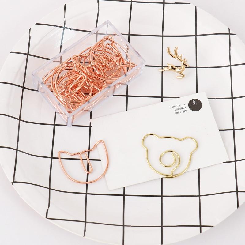 TUTU 20 unids/lote oro rosa gato marcapáginas oso clip metálico para papel Material marcadores para libro de papelería de la Oficina de la escuela suministros H0343