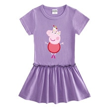 Peppa Pig-vestido de verano para niña, de algodón, con dibujos animados de hongo Edge, Plisado elegante, ropa literaria púrpura, rosa, amarillo, azul
