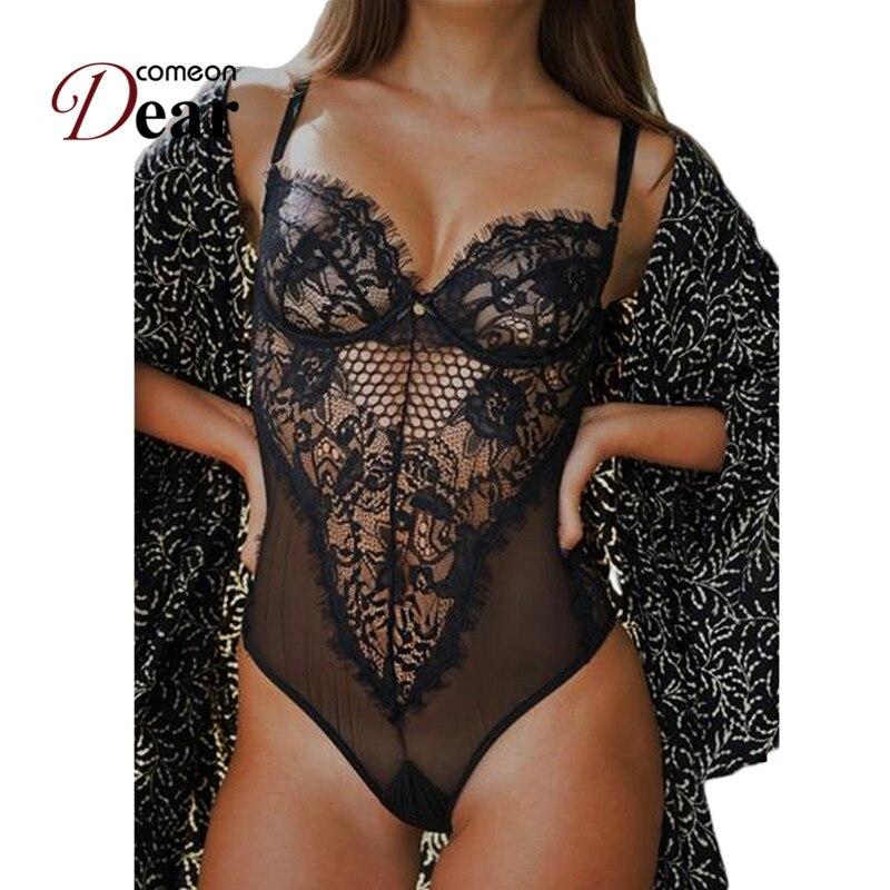 Comondear Chic Kissable espalda descubierta de talla grande Bodysuit de encaje negro/blanco Body Hollow Out transparente Sexy mono RA80408