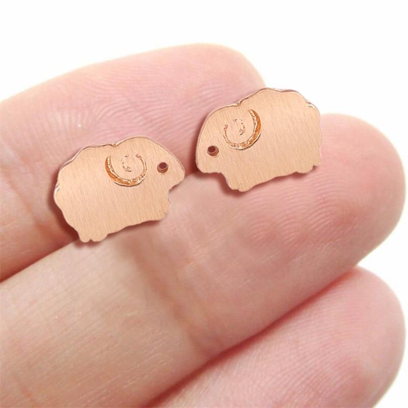 Jisensp Cartoon Lovely Sheep Stud Earrings Fashion Earrings for Women Girls Cute Animal Ear Stud Par