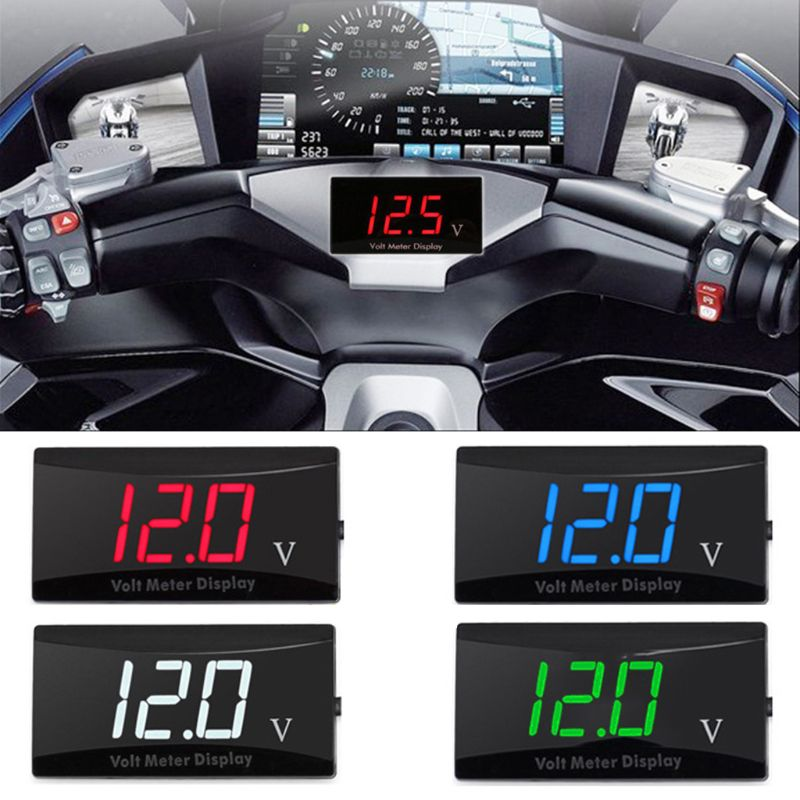 Voltímetro Digital de pantalla LED de 12V, medidor de Panel de voltaje compatible con crucero, coche, motocicleta y bicicleta