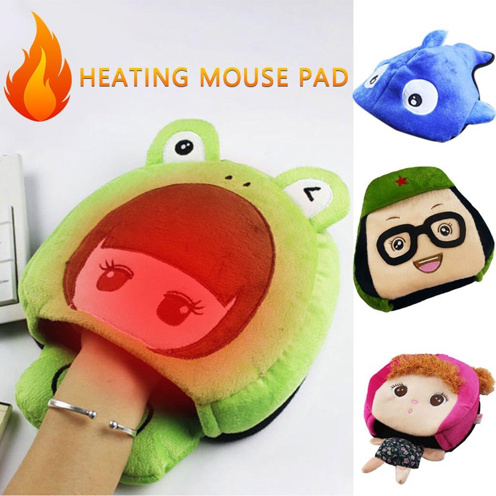 De dibujos animados lindo USB calentado Pad Mousepad Mouse Mat Mause alfombrilla ordenador mano con Wristguard de invierno cálido de alfombrilla de ratón de noviembre de