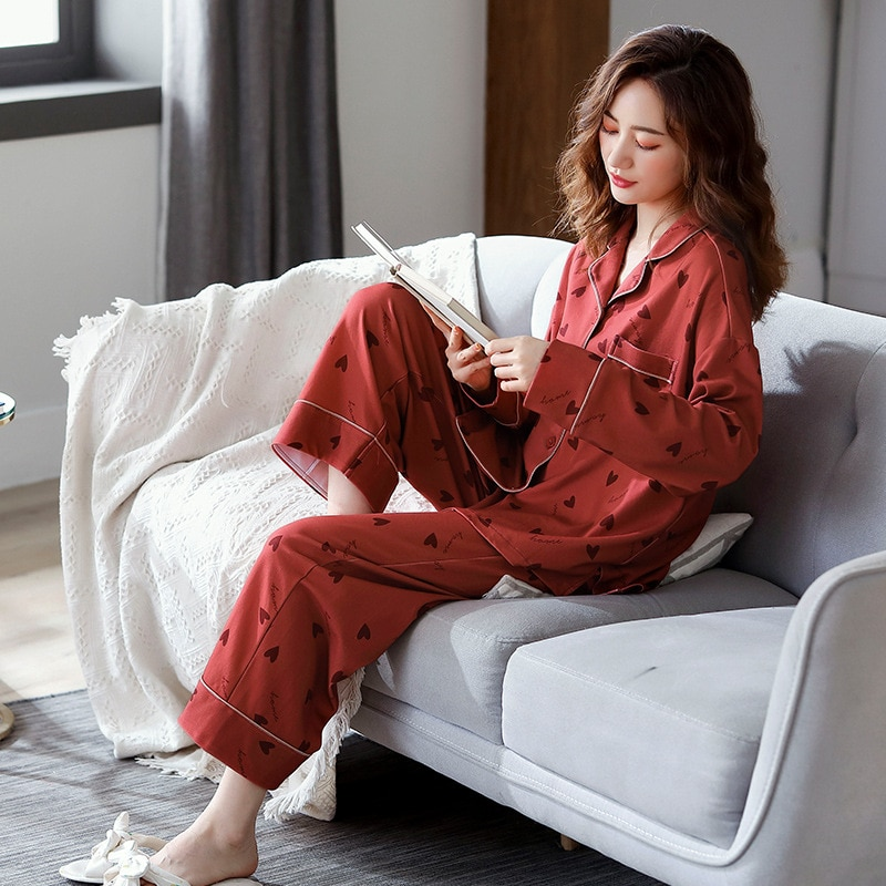Ladies Casual Pajamas Set Spring and Autumn Red Heart-shaped Cotton Explosion Lapel Cardigan Homewear Cotton Clothes Suit