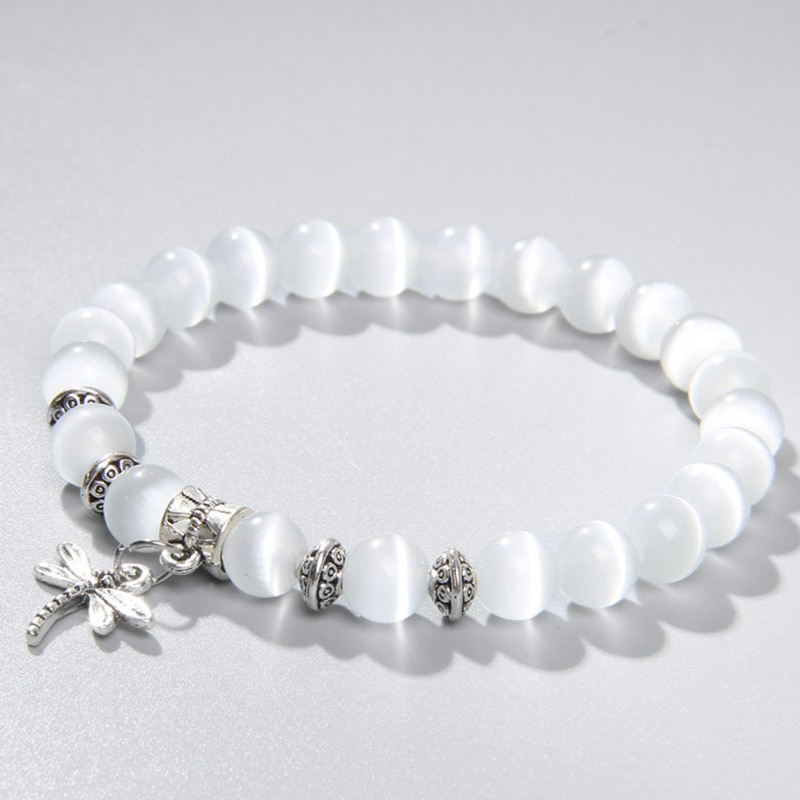 AliExpress - 8mm white Cat Eye stone Beads Bracelet with Lucky dragonfly Dog claw butterfly Pendant Charms Strand Bracelets For Women female