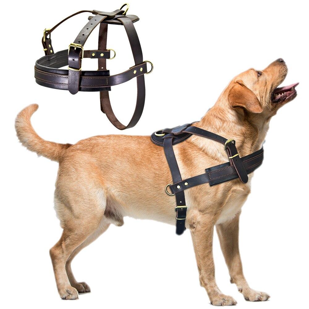 Arnés de cuero genuino para perros marrón suave para caminar arneses de entrenamiento arnés ajustable para perros de tamaño mediano