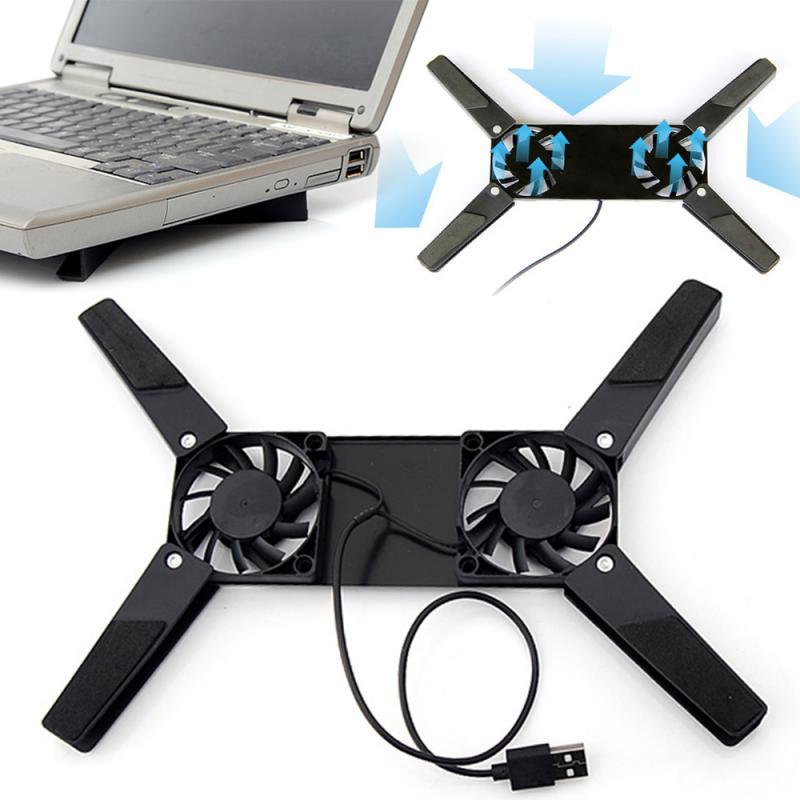 Охлаждающая подставка для ноутбуков, вращающийся USB-вентилятор, 2 вентилятора, кулер для ноутбуков 10-17 дюймов