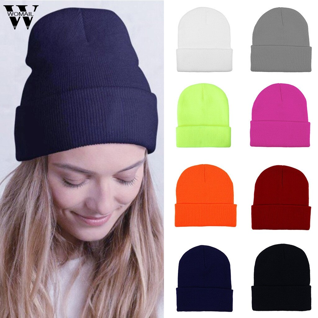 Womail Beanie hat de punto Mujer invierno lana cálida para tejer sombrero tejido de moda para mujeres Crochet Casual suave Ski Beanie Skul Cap P920