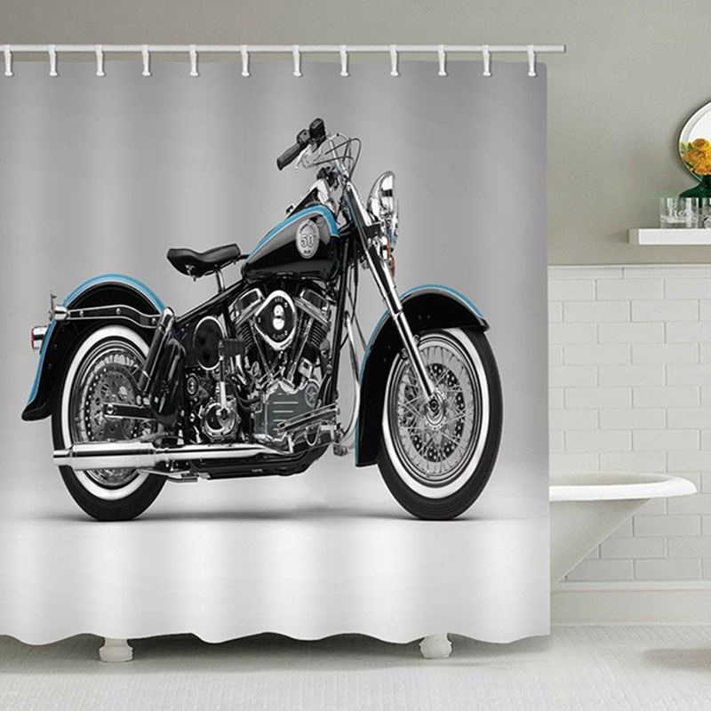 Cortina de ducha de arte africano, cortinas de ducha de poliéster, bonito Baño de motocicleta, cortina de hombre Guay, pantalla de baño lavable con ganchos