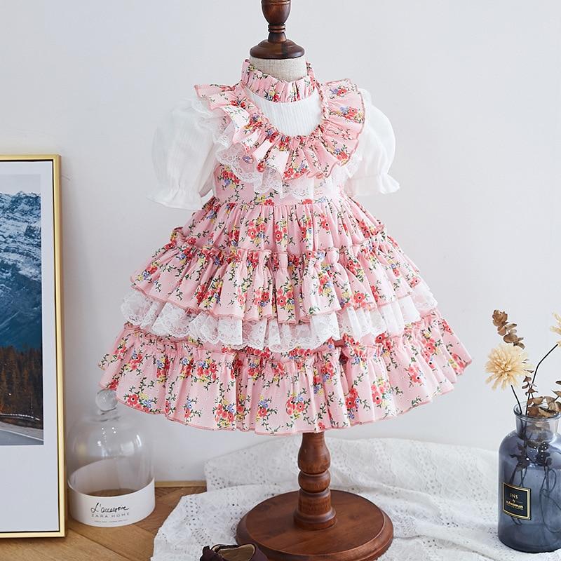 الفتيات فستان الإسبانية الملكي ازياء الاطفال الأميرة الزفاف فساتين لحفلات عيد الميلاد الدانتيل رداء Fille الطفل ملابس محلات للفتيات