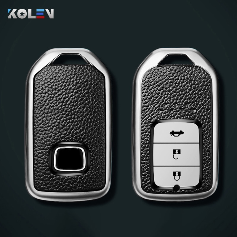 Leather+TPU Car Remote Key Cover Case Shell For Honda Civic City Accord CRV CR-V XR-V Odyssey Vezel Jade Crider Fit Accessories beler new 7pcs chrome car interior door window switch lift button cover trim for honda cr v vezel accord civic odyssey 2014 2015