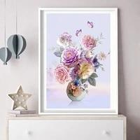 Peinture diamant fleur de pivoine  broderie 5D  bricolage  paysage  vase a fleurs  decoration de maison  cadeau de vacances artisanal