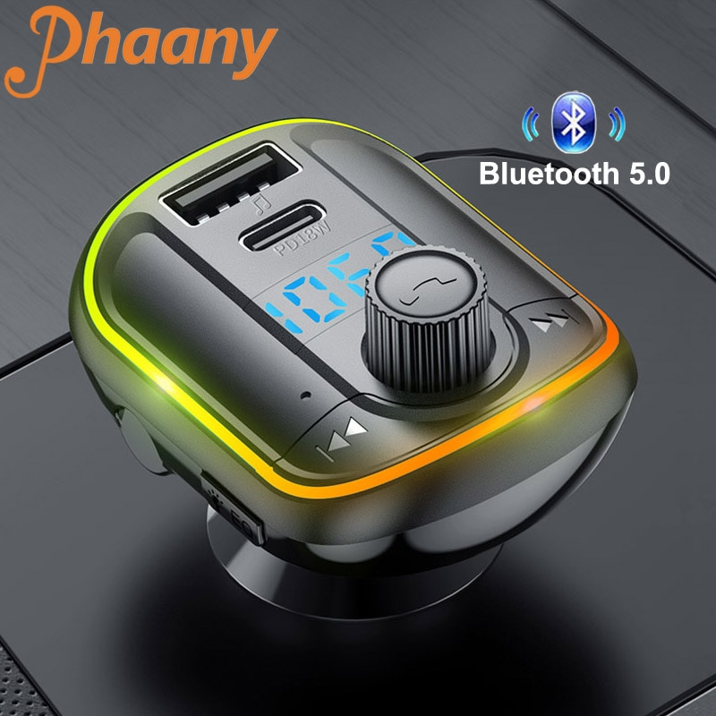 Phaany Bluetooth 5.0 Handsfree Car Kit FM Transmitter AUX Audio Music Receiver Dual USB Car Charger LED Screen Car Accessories