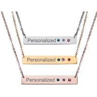 rinhoo personalized custom engrave name necklace stainless steel rhinestone custom letters pendant necklaces women men gift