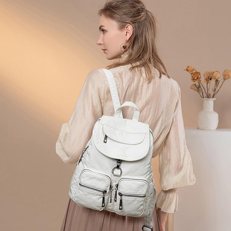 موضة لينة بو حقيبة ظهر مصنوعة من الجلد للنساء مقاوم للماء حقيبة السفر الأبيض حقيبة للنساء الظهر حزمة لفتاة
