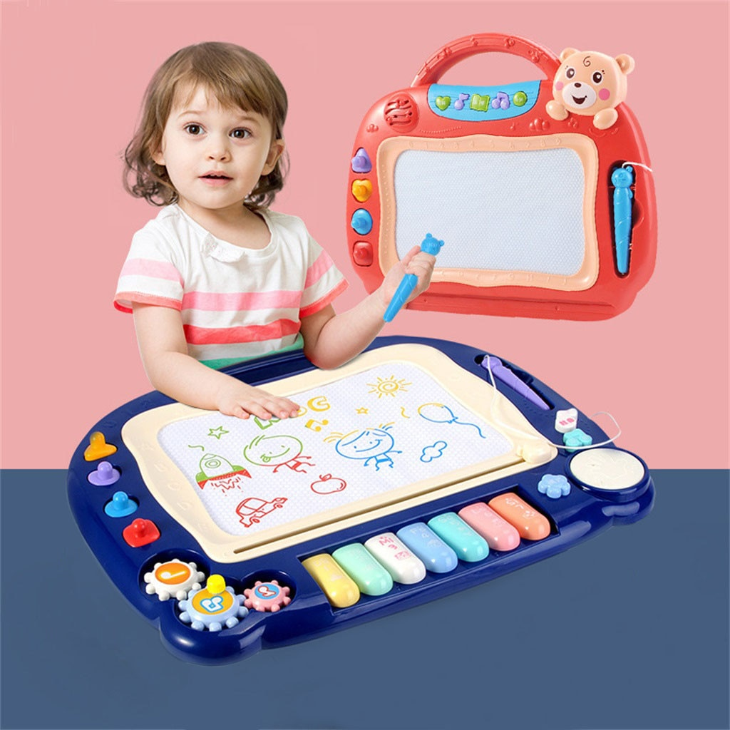 Juguetes educativos para niños, juguetes de aprendizaje, tablero de Graffiti magnético grande, tablero de dibujo borrable creativo con canciones # G40