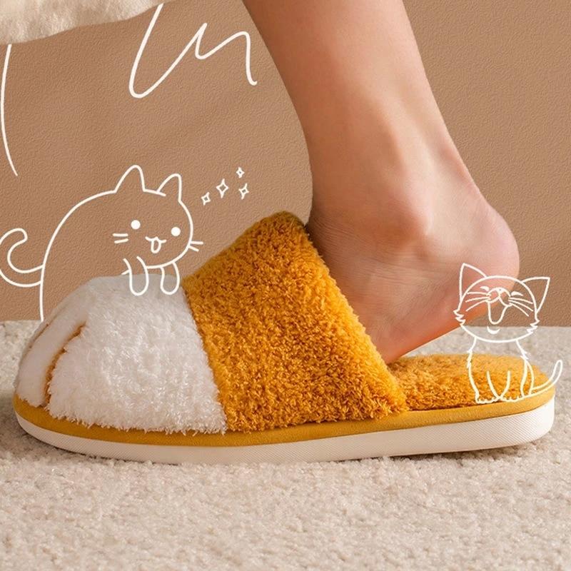 Winter House Cute Cat paw Designer Women Fur Slippers Bedroom Floor Mute Lovers Plush Shoes Nonslip Indoor Women Fluffy Slippers