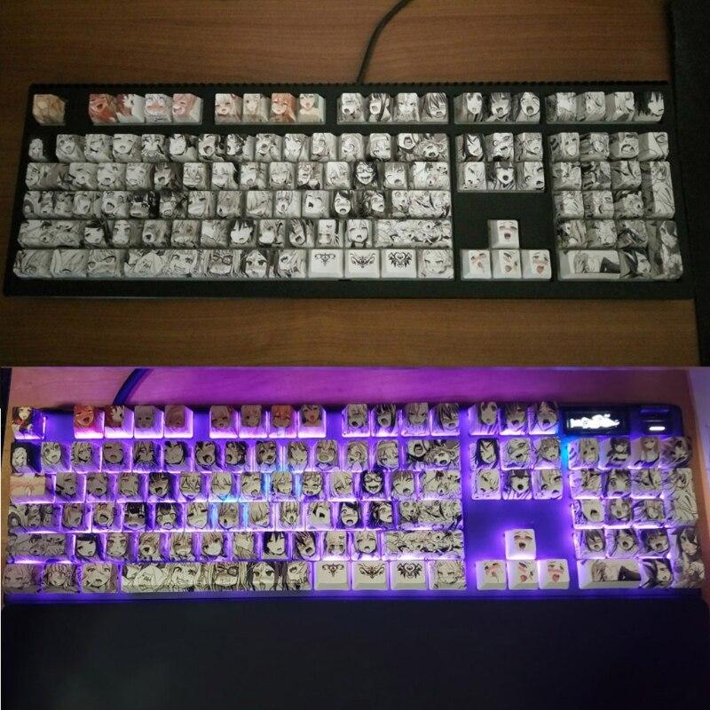 PBT 108 مفتاح Ahegao Keycap صبغ التسامي OEM الشخصي أنيمي لوحة المفاتيح Keycap N7MC