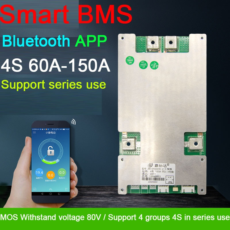 smart BMS 4S 12V 80A 100A 120A 150A Li-ion LifePo4 Lithium Protection Board balance High Current Bluetooth APP CAN 4 CELL series
