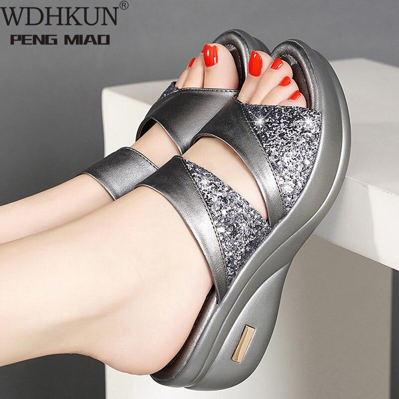 ¡Novedad de 2020! Zapatos de moda, sandalias informales de plataforma abierta por delante para mujer, Sandalias de tacón dorado, zapatos antideslizantes de lujo con diamantes de imitación