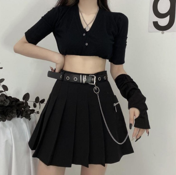 NONSAR Black A-line Skirt High Waist Slimming Tooling Style Chain Pleated Skirt Women's Students Summer