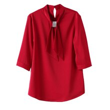 Red Shirt Women's Fashionable Stylish Spring New Half Sleeve Design Blouse Bow Chiffon Shirt