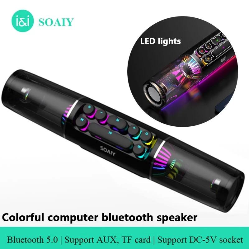 SOAIY SH19 متحدث لاسلكي يعمل بالبلوتوث مصباح ليد RGB الألعاب مكبر الصوت مضخم الصوت AUX مفاتيح ميكانيكية سماعات USB البيضاوي المحمولة