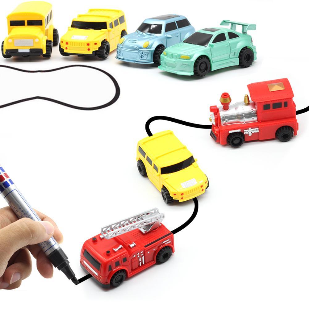 Seguimiento automático, Mini coche de carreras inductivo, camión, línea de dibujo, pluma, juguete interactivo para niños