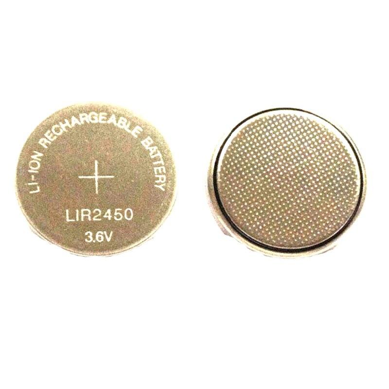 2 pçs/lote 3.6V LIR2450 LIR Botão de Célula tipo Moeda de Lítio Li-ion Recarregável 2450 CMOS BIOS