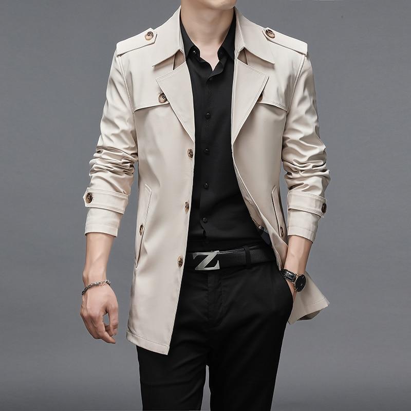 ربيع الخريف الرجال معطف واقٍ من المطر أزرار عالية الجودة الذكور موضة ملابس خارجية جاكيتات سترة واقية حجم كبير 4XL