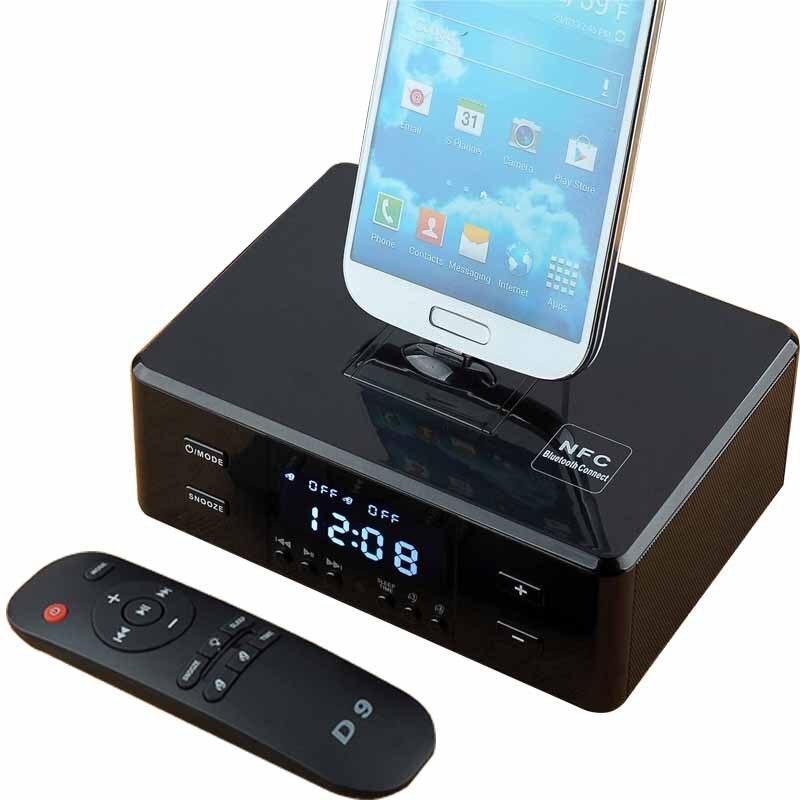 Wireless Bluetooth Speaker NFC with Phone Holder Charging Base Alarm Clock Desktop Bed Room USB TF Card FM AUX Subwoofer