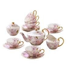 European High-grade bone china Coffee Cup Set British Afternoon teacup Set  Elegant porcelain tea cup saucer pot Wedding Gift